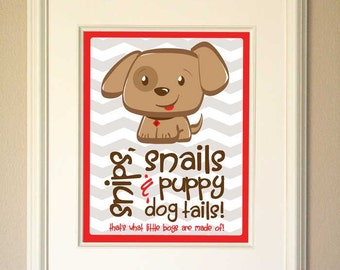 Snips, Snails & Puppy Dog Tails Art Print - Red -  Digital Download