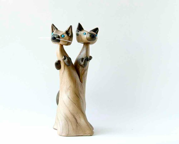 Siamese Twin Cats - Conjoined Twins Cat Art Figurine by Bonjour Poupette