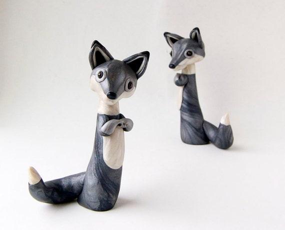 Gray Wolf Sculpture by Bonjour Poupette