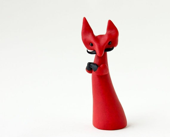 cute whimsical red devil clay animal