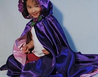 READY TO SHIP Girls Princess Cape, Purple Blossoms