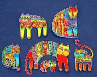 Set of 6 CAT Appliques*Handmade*Very RARE Laurel Burch fabric/N