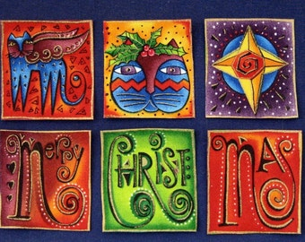 SALE*Six Gorgeous Holiday Block Appliques*Handmade*OOP Laurel Burch Fabric/127