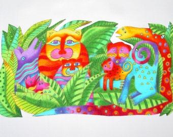 LAST ONE*Lovely FLANNEL Jungle Animal Iron On Applique*Handmade*Laurel Burch Fabric/176
