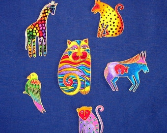 Adorable set of 6 Jungle Animal Appliques*Handmade*Laurel Burch fabric/SS