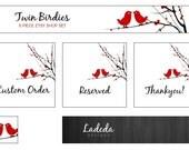 Shop Banner : Australian Shops - Premade Etsy Shop Set - 5 Pieces - Banner - Red birds, Black branches, white background, love, happy
