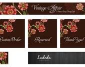 Shop Banner : Custom Etsy Banner Nature Premade Set  - Banner - Vintage, floral, brown, pink, flowers, garden, antique, collectables