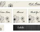 Shop Banners : Dandelion Etsy Banner Set Premade Set - 5 Pieces - Banner, Avatar, Custom Order, Reserved & Thank You Matching