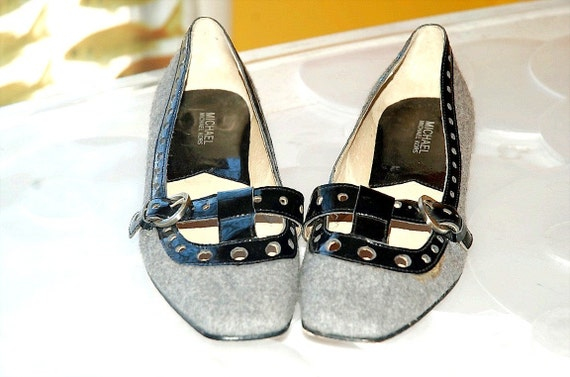 Reserved For Becky/Traderbeck Michael Kors Grey Wool Flats with Black Patent Trim Size 10
