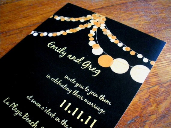 "Modern String of Party Lights Wedding Invitation - ""The Hilary"""