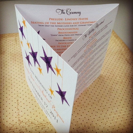 "Tri-fold Wedding Programs - ""The Aubry"""