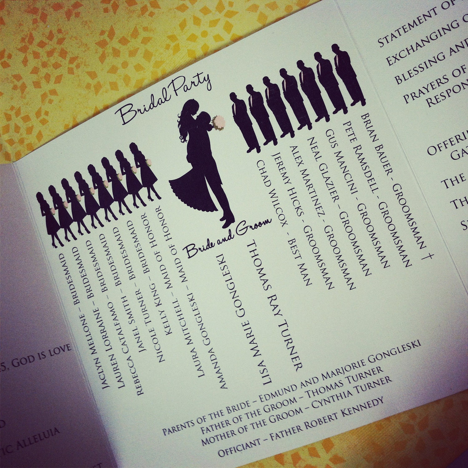Unique Wedding Reception Program Ideas: The ORIGINAL Bridal Silhouette Program The Lisa