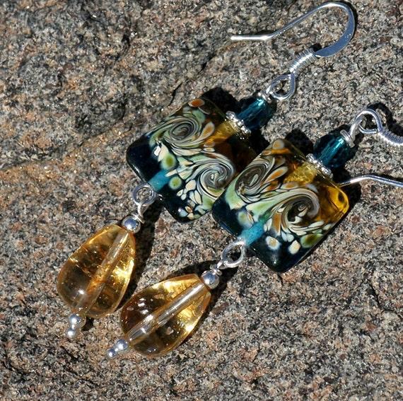 Spring Earrings, Turquoise Earrings, Citrine Earrings, Yellow Earrings, Beaded Earrings, Silver Earrings, Glass Earrings