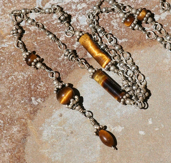 Tiger Eye Necklace, Brown, Sterling Silver, Natural Stone