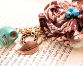 Turquoise and Chocolate Bird's Nest Brooch with Fabric Rosette