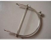 6 inch silver half round metal purse frame