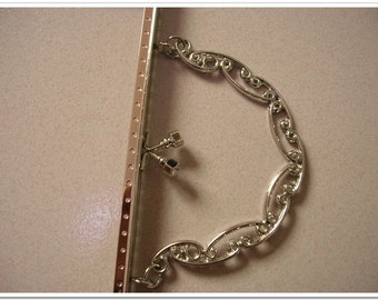 8.67 inch (22cm) silver sewing purse frame (with handle)