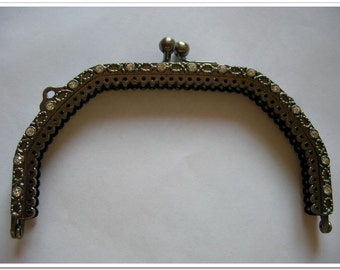 13cm  gunmetal purse frame with 24 pics CZ diamond bag frame