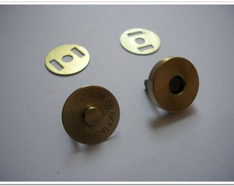 20 set 18mm Antique brass brushed Magnetic Snap Magnetic Closures  Magnetic button purse making hardware
