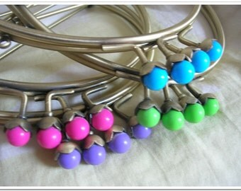 6 inch antiqued bronze half round metal purse frame  kiss lock frame ight purple red light green blue fruit beads bubble