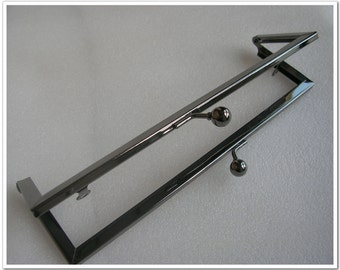8-1/2 inch (21.5cm) gumetal rectangle large purse frame