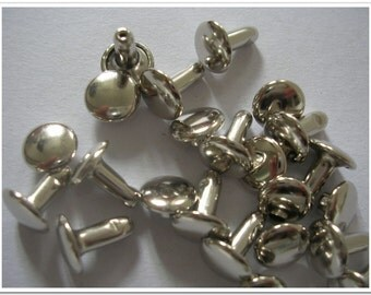 80 sets 10mmX6mm(posts) Double Cap Rivet,leather rivets,rivets studs,flat cap rivets,nickel finish