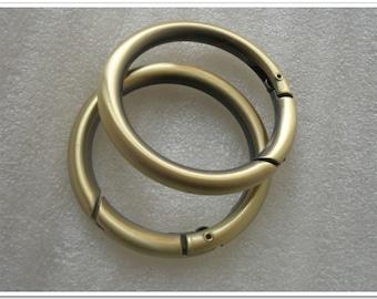 "11/2 Inch Spring Gate Rings, Antique Brass / Bronze Finish, 6 Pieces, Purse Handbag Bag Making Hardware Supplies, 11/2"""