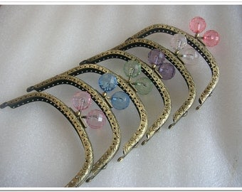 6pcs 5 inch pink blue yellow red white purple beads anqtique bronze colored kiss lock purse frames metal purse frame purse making supplies