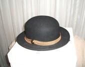 1980s Vintage Wool Bowler Hat