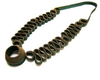 Forever Green Statement Textile Handmade Zipper Necklace