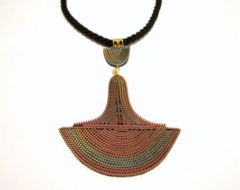 TRIBAL NECKLACE - Zipper Rope Textile Statement African Handmade Jewelry