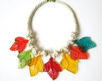 Plastic and Rope Necklace
