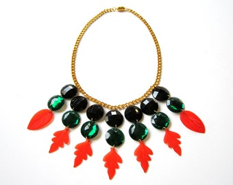 Plastic Necklace - Red Leaves