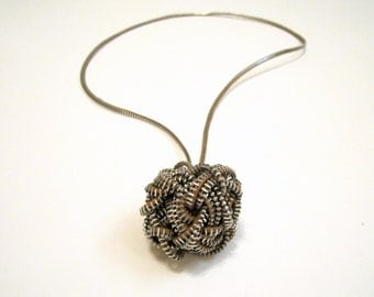 WISHES BALL Zipper Handmade Sphere Statement Textile Necklace