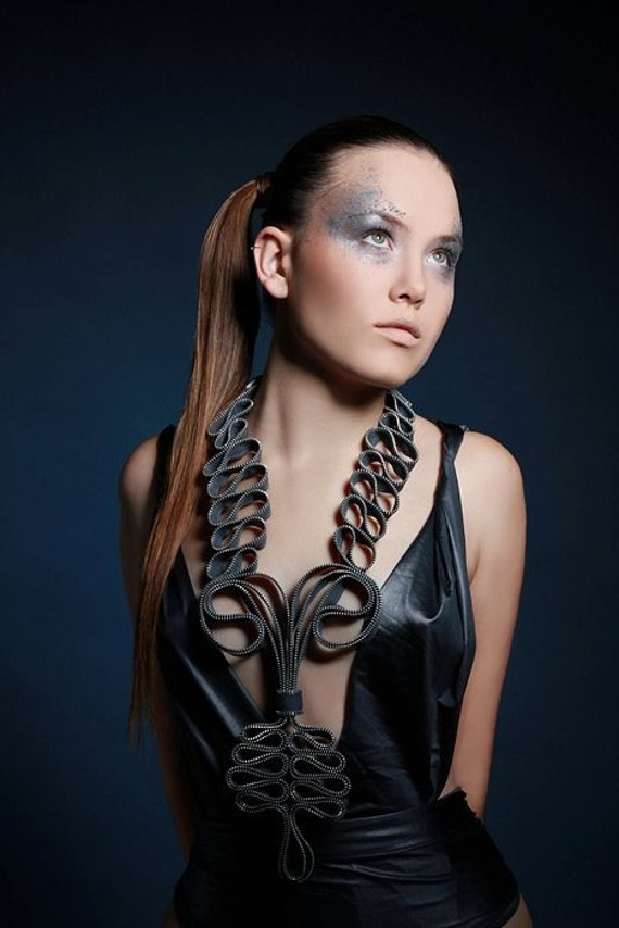 Curves and curves - Couture Zippers Textile Long statement Handmade Necklace