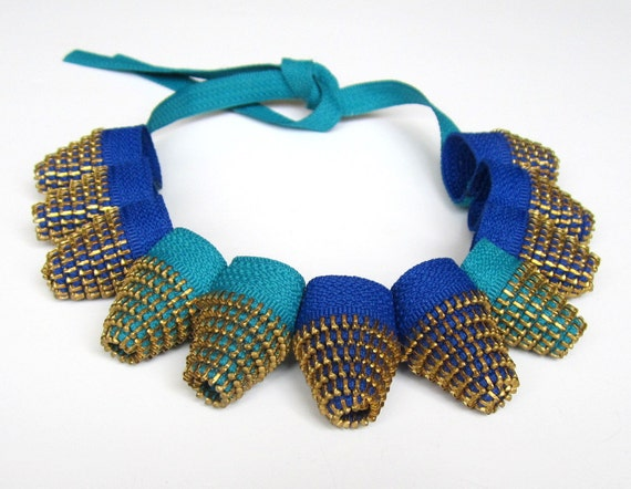 AVANTGARDE ZIPPER NECKLACE - Sapphire and Turquoise Cones