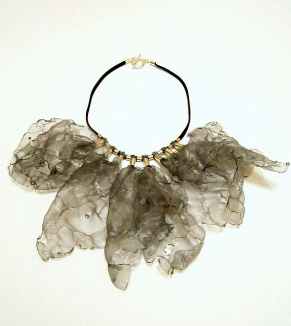 WHEN I MET YOU-Silver Fabric Leather Necklace