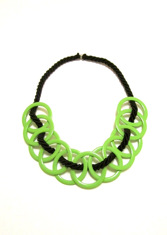 Plastic Hoops and Rope Textile Necklace