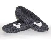 Charcoal Bird Buttons Crochet Slippers