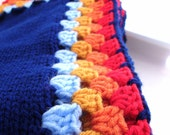 Navy Blue Knitted Childrens Blanket with Rainbow Granny Square Edge Childrens
