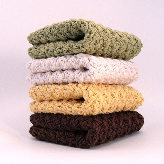 """10"""" Sunflower Cotton Washcloths in Sage Natural Yellow and Brown"""