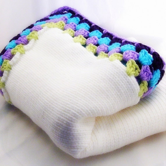 White Knitted Childrens Blanket with Purple Aqua Blue and Light Green Granny Square Edge