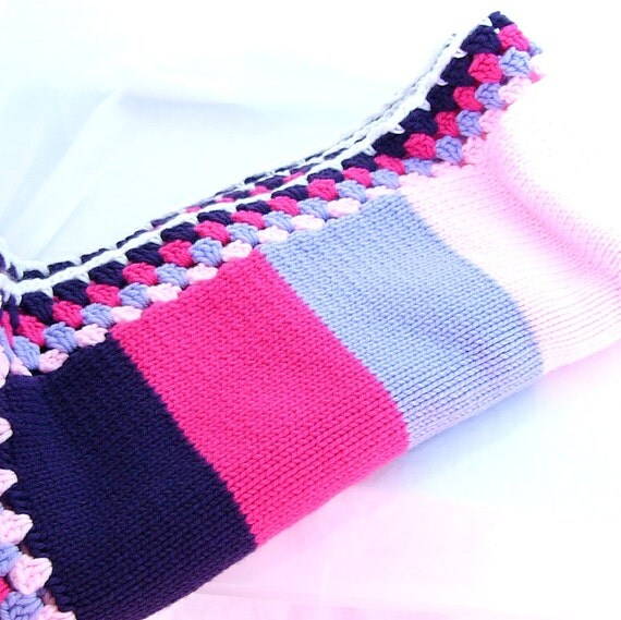 Striped Knitted Childrens Blanket with Granny Square Edge