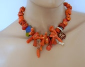 Unique Coral mix  bold and dramatic  ethnic inspired necklace