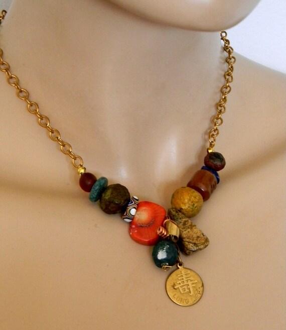 Multi coloured bead mix mini necklace