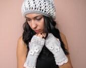 SALE 20% SILVER FAIRY Feminine Crochet Fingerless Gloves in white and grey