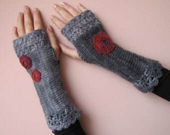 Circles of HOPE Crochet Fingerless Gloves in charcoal grey and red