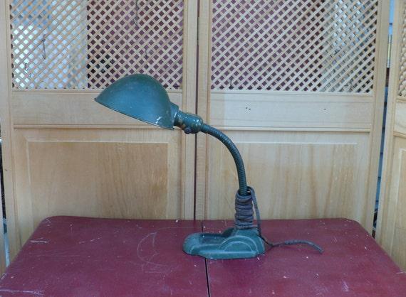 Desk Lamp -- Gooseneck  --  Light Art Deco Green Paint