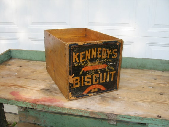 Primitive Wood Crate Box Advertising Kennedy Biscuit Company