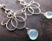 Sterling Silver Lotus Earrings With Aqua Blue Chalcedony  Briolette. - LovePotionDesign